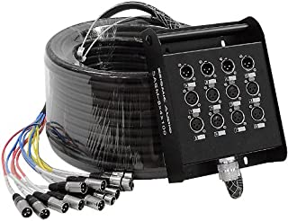 Seismic Audio - 8 Channel XLR SNAKE CABLE 100' long - 8 XLR sends and 4 XLR returns - Color Coded, Numerically well labeled - Heavy Duty 100 feet long