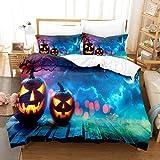 BXCLGM Halloween Bettbezug und Kissenbezug,3D-HD-Digitaldruck,Cartoon-Geschenk für Kinder,...