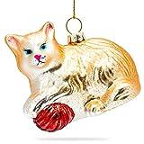 Sikora BS187 Katze mit Wollknäuel Christbaumschmuck Glas Figur Weihnachtsbaum Anhänger