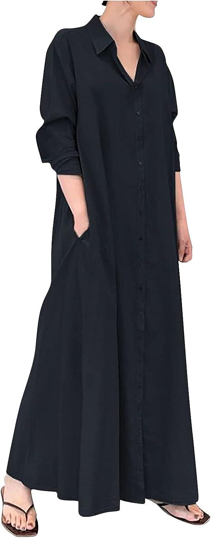 Rpvati Women Casual Long Sleeve Pocket Solid Color Button V-Neck Ankle Dress Shirt Dress