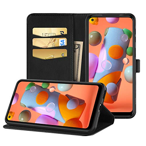 EasyAcc Hülle Hülle Kompatibel mit Samsung Galaxy M11 A11, PU Kunstleder mit Kartenhalter & Faltbare Tasche Handyhülle mit Standfunktion Brieftasche Schutzhülle, Schwarz