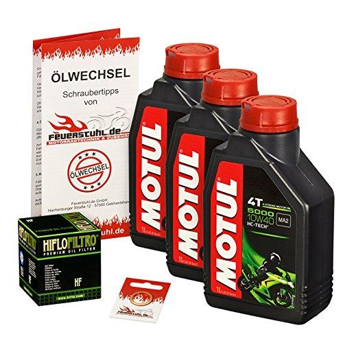 Motul 10W-40 Öl + HiFlo Ölfilter für Kawasaki ER-5 500 Twister, 97-06, ER500A - Ölwechselset inkl. Motoröl, Filter, Dichtring
