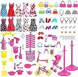 114Pcs Kleidung zubehör Set Für Barbie Puppen, 10 Pack Kleider + 10Pcs Handtasche + 94Pcs Röcke...