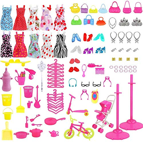 114Pcs Kleidung zubehör Set Für Puppen, 10 Pack Kleider + 10Pcs Handtasche + 94Pcs Röcke Puppenzubehör Outfit Kleidung für 11,5 Zoll Mädchen Puppen