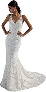 Women's Double V-Neck Lace Wedding Dress Mermaid White Bridal Gowns