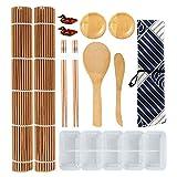 BOROMI Kit Sushi, Esterilla Sushi, 14 Piezas Juego de Herramientas para Hacer Rollos de Sushi de Bambú y Molde de Bola de Arroz de Sushi de Buque de Guerra de Plástico