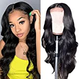 PHYSKA 4x4 Lace Front Human Hair Body Wave Wigs Pre Plucked 100% Unprocessed Brazilian Virgin Human Hair Wigs 9A Grade 150 Density Natural Color Lace Closure Body Wave Wigs for Black Women(20 inch)