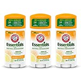 ARM & HAMMER Essentials Deodorant- Orange Citrus- Solid Oval - Made with Natural Deodorizers- Free From Aluminum, Parabens & Phthalates, 2.5 oz (Pack of 3)