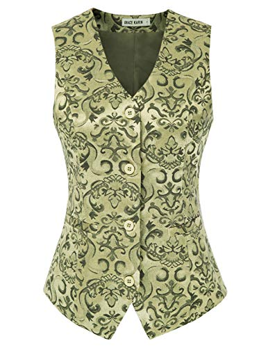 GRACE KARIN Chaleco Victoriano de Jacquard para Mujer Mediano Steampunk