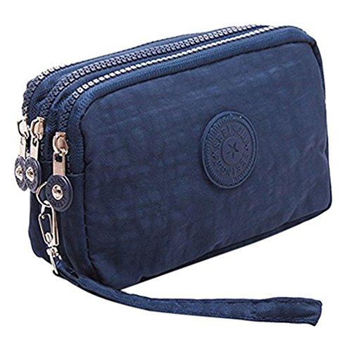 Fueerton - Bolso multiusos con cremallera y 3 apartados para guardar llaves, tarjetas, teléfono y dinero, azul marino (Azul) - Fueerton