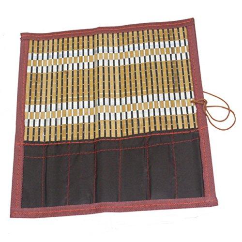 Miwacoma 書道 竹製 筆巻き ポケット付き 筆入れ 保管 (40)