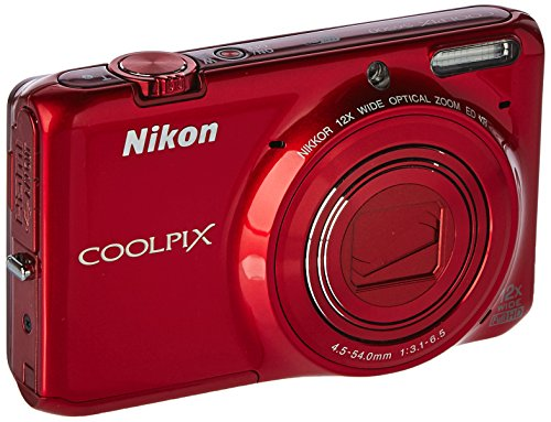 Nikon COOLPIX S6500 Wi-Fi Digital Camera with 12x Zoom - Red (Certified Refurbished) Cameras Digital Electronics Features Point Shoot