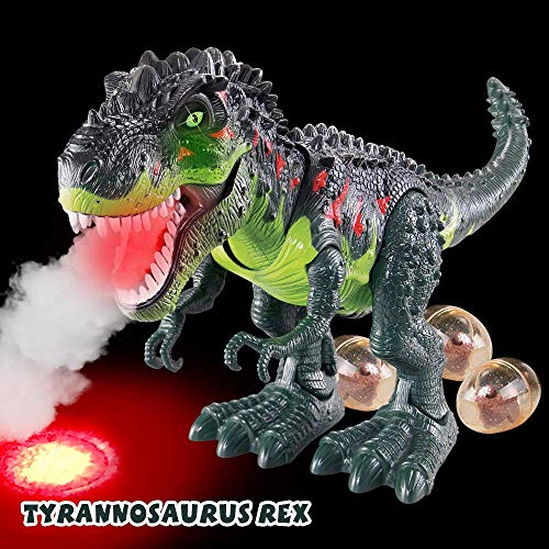Electronic Walking Dinosaur T-Rex with Simulated Flame Spray Fire Breathing, Water Mist Spray, Laying Eggs, Light Up Eyes, Roaring Sound, Realistic Tyrannosaurus, Toy for Boys Kids Girls Ages 3+