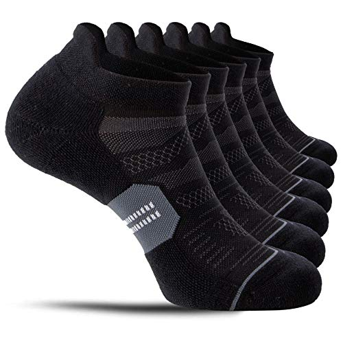 CelerSport 6 Pack Running Ankle Socks for Men and Women with Cushion, Low Cut Athletic Sport Tab Socks, Black + Grey, Small