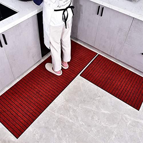 qazwsx Alfombra Larga Antideslizante para Cocina, Alfombra para Puerta De Entrada para El Hogar, Alfombra Absorbente para Sala De Estar, (Color : Red, Size : 60x90CM)