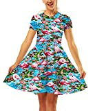 Falda Plisada Mujer Verano Elegantes Vestido Corto Flamencos Estampadas Patrón Mode De Marca Slim Fit Cuello Redondo Vestido De Oscilación Vestidos Ajustados Estilo Moderno (Color : Azul, Size : S)