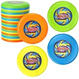 Liberty Imports Value Bundle - 24 Pcs Outdoor Flying Sports Discs, Plastic Toss Game Toy for Kids and Adults (4 Colors)