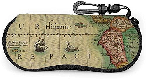 Tcerlcir Estuche para gafas Mapa del Viejo Mundo de las Américas 1606-Viejo Mapa del Mundo Dorado Estuche para Gafas de Sol Suave Estuche para Anteojos para Mujeres Hombres, 17x8cm