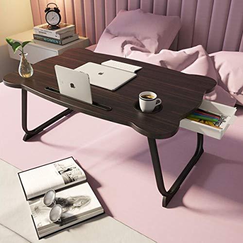 GGHKDD Escritorio portátil portátil con bandeja, mesa de cama portátil con patas plegables y ranura para taza, soporte para ordenador portátil para cama sofá
