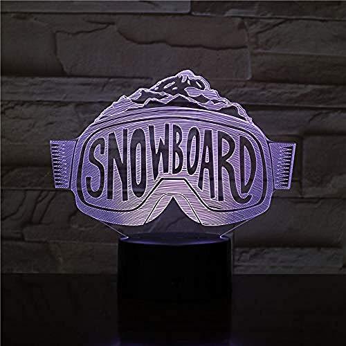 Diaporama 3D snowboard LED nachtlampje Lovers Gift 3D lamp paneel acryl wekker basis 7 kleuren decoratie geschenk met afstandsbediening 7 kleuren (Crack White