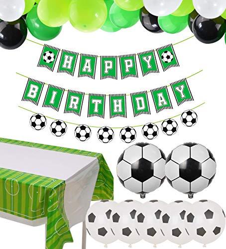 PIXHOTUL Decoraciones de Fiesta de Fútbol Happy Birthday Football Pancartas y 47 Piezas de Globos Temáticos de Fútbol para Niños, Suministros de Fiesta de Cumpleaños para Fanáticos del Fútbol