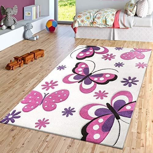 TT Home Schmetterling Teppich Creme Fuchsia Lila Kinderzimmer Teppiche Butterfly Design, Größe:80x150 cm