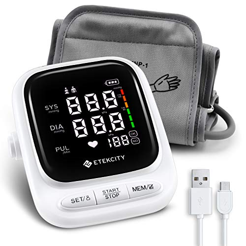 Blood Pressure Monitor Upper Arm by Etekcity, Rechargeable BP Monitor Machine with LED Display and Speaker, 22-42cm Cuff, 2-User with 90 Memory Each, White