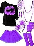 80s Costume Accessories Set T-Shirt Tutu Headband Earring Necklace Leg Warmers (XX-Large, Purple)