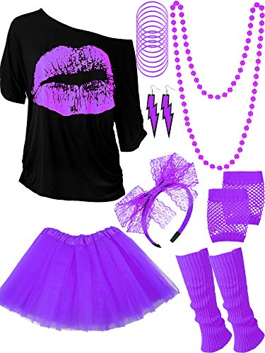 Blulu 80s Costume Accessories Set T-Shirt Tutu Headband Earring Necklace Leg Warmers (Medium, Purple)