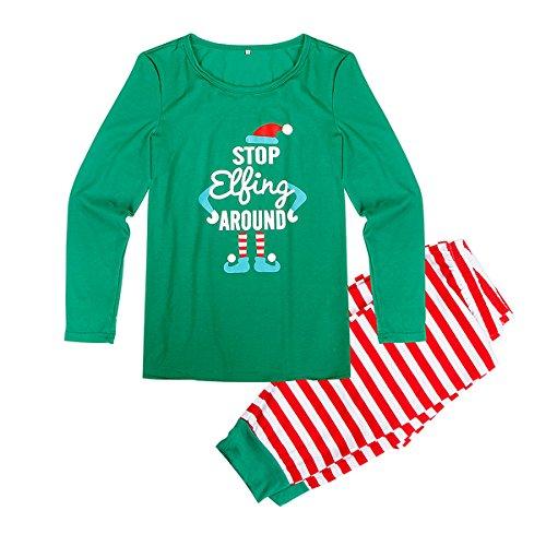 Rehomy Conjunto de pijama de Navidad a juego para la familia, para hombres y mujeres y niños, ropa de dormir de elfo