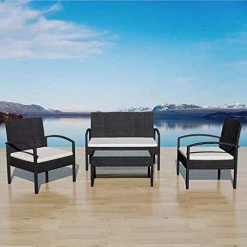 binzhoueushopping Jeu de canapés de Jardin 7 pcs Noir Fauteuil Dimensions 58 x 59 x 74 cm (l x P x H) Résine tressée Largeur du siège 100 cm pour Votre Jardin