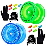 MAGICYOYO Pack of 2 Responsive YoYo, K1 Plus Crystal Blue, Grow Green, Hubstack Plastic Yoyos for Kids Basic Yo-yo with 10 Yoyo Strings + 2 Yoyo Bags + 2Yoyo Gloves