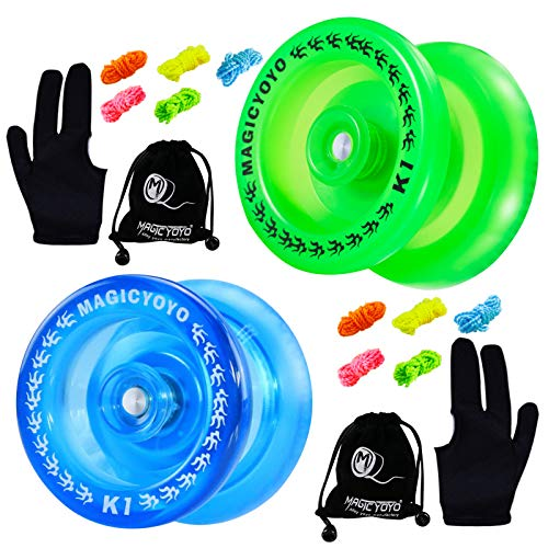 MAGICYOYO Pack of 2 Responsive YoYo, K1 Plus Crystal Blue, Grow Green, Hubstack Plastic Yoyos for Kids Basic Yo-yo with 10 Yoyo Strings + 2 Yoyo Bags + 2Yoyo Gloves