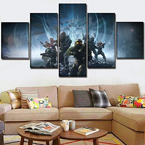 CJWLH 5 Stücke Leinwand Gemälde Panel EIN Satz Panels Spiel Poster Halo Modern Home Wand Dekorative Bild Kunst Hd Drucken Moderne Kunstwerke-8x14in 8x18in 8x22in