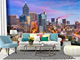 atlanta, georgia, usa skyline new york city skylines and pictures Canvas Print Wallpaper Wall Mural Self Adhesive Peel & Stick Wallpaper Home Craft Wall Decal Wall Poster Sticker for Living Room