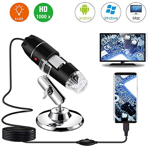 Gobbuy Microscopio de Bolsillo Extremadamente Potente Microscopio Digital USB con iluminación LED Adecuado para niños, Estudiantes, Ingenieros e inventores