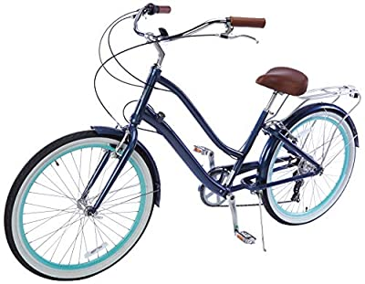 "sixthreezero EVRYjourney Women's 26"" 7-Speed Step-Through Touring Hybrid Bike w/Integrated Cable Lock, 26"" Bicycle, Navy with Brown Seat and Brown Grips"
