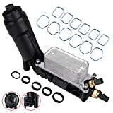 Engine Oil Cooler Filter Adapter w/Sensors & Intake Manifold Gasket Set 3.6L Compatible with 2011 2012 2013 Jeep Wrangler Grand Dodge Grand Caravan Chrysler 200 300 Town & Country Ram 1500 5184294AE