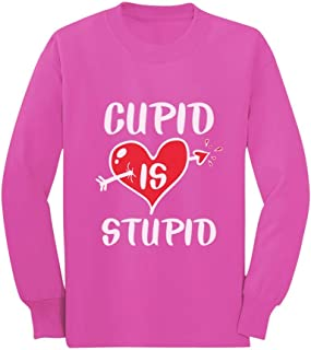 Anti Valentines Shirt Cupid is Stupid Toddler/Kids Long Sleeve T-Shirt