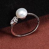 WTPUNGB Perle Ringe Natürliche Süßwasserperle 3 Farbe Perlenschmuck Einstellbare Perlenringe Frauen Hochzeit Silber Weiß Rosa Lila Resizable Weiße Perle