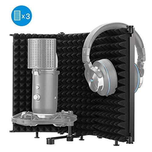 Moukey MPFUBK3 Mikrofon Isolation Shield Faltbar, Absorbierender Schaum Studio Aufnahme Schaumreflektor, Drei Seiten mit hoher Dichte zum Filtern Stimmen mit 3/8