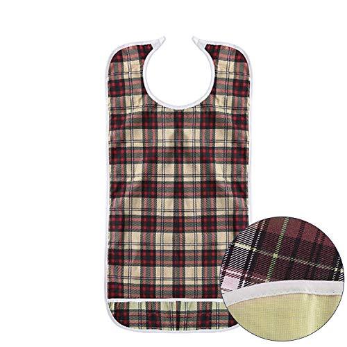 DOCA Erwachsenen Lätzchen für Senioren doppelte Schicht wasserdicht mit Displayschutzfolie wiederverwendbar Kleidungsschutz Lätzchen Schürze für ältere Männer Frauen(Khaki)