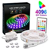 LED Strip Lights, Upgraded 16.4ft RGB Led Light Strips for Room,4096 DIY Colors, RGB Light Strip with Remote,SMD 5050 LEDs, Color Changing Led Light Strips for Bedroom,Indoor Decorations for Home