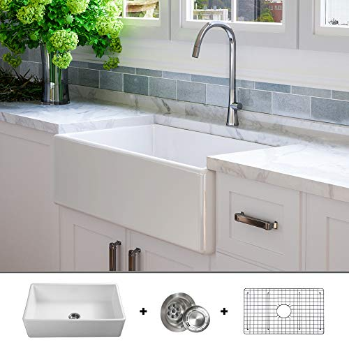 LUXURY 33 inch Modern Farmhouse Ultra-Fine Fireclay Kitchen Sink in White, Single Bowl, Flat Front,...