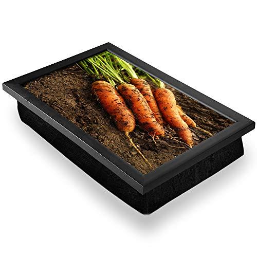Bandeja de regazo de lujo, cómoda, funcional portátil, puf – Zanahorias frescas de granja vegetal #2631