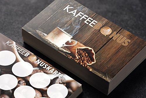 Premium Kaffee Bonuskarte Café Kundenkarte optional mit Stempel (1000 Stück)