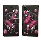 Wallet Pouch Card Holder Protective Case Phone Cover Case Phone Cover for ZTE Blade T2 Lite Z559DL + Gift Stand (Pink Butterfly)