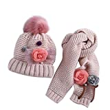 ACMEDE Cappello e Sciarpa Lavorati a Maglia per Bambini Invernali, Simpatici Cappello con Pompon per Bambini Ragazze e Ragazzi,Fiore Carino