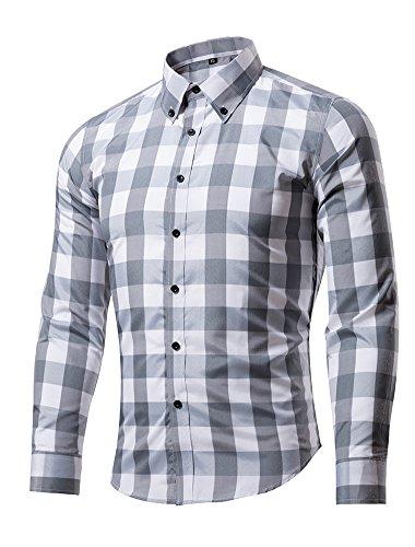 XTAPAN Men's Plaid Long Sleeve Shirt Casual Button Down Flannel Slim Fit Shirt