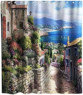 Lifeasy View of Old Mediterranean Street in Italian City Rural Shower Curtain Cloth Fabric Bathroom Decor Set with Hooks Waterproof Washable 72 x 72 inches Colorful